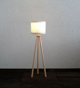 1/6 scale Dollhouse floor lamp with led light included. White lampshade