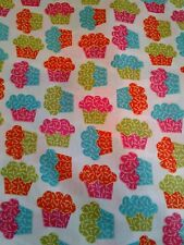 "Springs bakers dozen neon cupcakes fabric turquoise orange pink 2.4ydx45"""