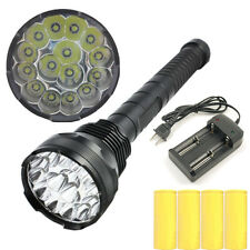 15x CREE XM-L T6 LED 33000LM Flashlight Torch Lamp Light+4x26650 Battery+Charger