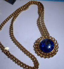 KJL Kenneth J Lane Faux Blue Lapis Brooch Pendant Necklace Goldtone Signed