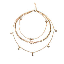 2017 Women Crystal Bib Collar Choker Necklace Rhinestone Moon Star Pendant 1pc Gold