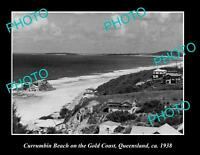 OLD LARGE HISTORIC PHOTO OF CURRUMBIN BEACH ON THE GOLD COAST QLD c1938