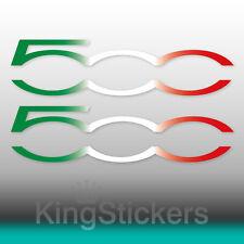 2 Adesivi FIAT 500 tricolore stickers Italia decals auto