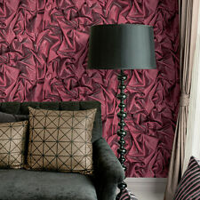 SPARKLE RED GATHERED SATIN FOLDED FABRIC FEATURE VINYL WALLPAPER MURIVA L14210