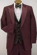 Vintage 4pc Dark Burgundy Prom Tuxedo Beetlejuice 36R With Black Pants