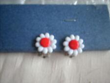 boucles d'oreilles pour enfant marguerite coeur rouge clips