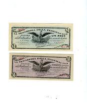 2 CU 1914 Saltillo   Banknotes 1 Peso and  50 Centavos