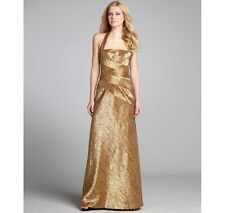 Phoebe Couture Halter Gold Formal Dress Gown Textured Size 10 NWT
