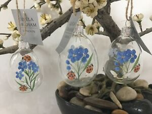 Gisela Graham Forget-me-Not Ladybird & Bee Clear Glass Egg Easter Decoration 8cm