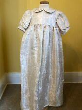 Stunning Ivory/Gold damask silk dupion heirloom Christening Gown