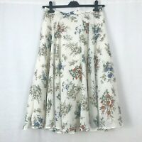 Vintage St Michael Cream Orange & Blue Floral A-line Midi Skirt UK Size 12