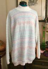 VTG 80s Hearts Sweater Retro Sz XL Fairy Kei Pastel Fuzzy Heart KAWAII Knit Top