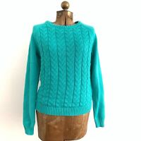 Lands' End Drifter Green Cable Knit 100% Cotton Sweater Women's Size Medium