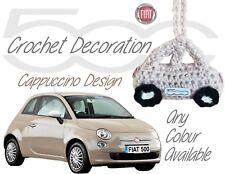Handmade Crochet Fiat 500 Hanging Decorations Accessories - Cappuccino Design
