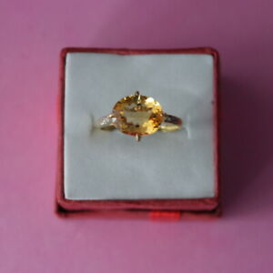 9Ct. Yellow Gold Ring With Natura Citrine & Diamond Size O12 In Gift Box