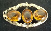 Pinchbeck & citrine vintage Victorian antique brooch