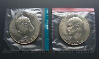 1974 P+D Eisenhower Dollars Ike 2-Coin Set (In Mint Cello) BU