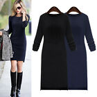Womens Autumn Winter Long Sleeve Knit BodyCon Party Sweater Short Mini Dress New