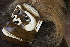 Hand carved Hand painted Original Bali Monkey Ape Wood Mask Buffalo Mane Hair