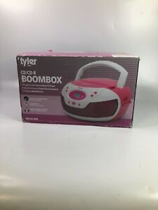 Tyler Audio Portable Top Loading CD Boombox with AM/FM Radio in Pink