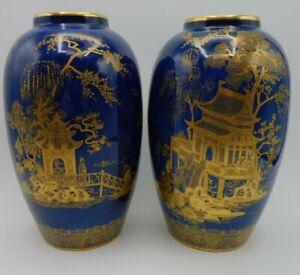 Pair of Carlton Ware vases Mikado pattern, good condition,  1920s 30s.