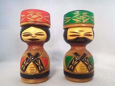 "Japanese Crafts ""Kokeshi"" wooden doll Ainu folk costume couple  kokeshi No.3"