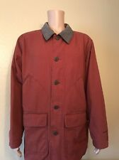 Mint WOOLRICH Indian Blanket Lined Barn Jacket Coat Button Leather Collar Mens L