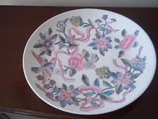 Elegant Hand Painted Round Asian Ceramic Floral Doves Made in Macau 12 1/2""