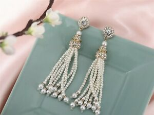 Costume Earrings Studs Long Art Deco Tassel Pearl Gold Retro Weddings Bridal X8