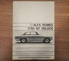 Alfa Romeo 1750 GT VELOCE - Allegato  Libretto Uso e Manutenzione - Originale