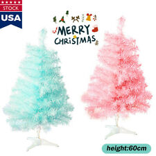 2 Feet Pink Blue Christmas Tree Small Artificial Xmas Tree With PVC Holiday Hot