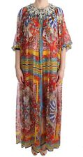 NEW $6200 DOLCE & GABBANA Dress Silk Carretto Crystal Tunic Gown s. IT40 / US8