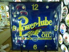 Restored Power-Lube Motor Oil Lighted Pam Advertising Clock Sign Oil & Gas