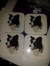 New Robert J.May Set of 4 Coasters Border Collie Dog Cork backing Gift lover