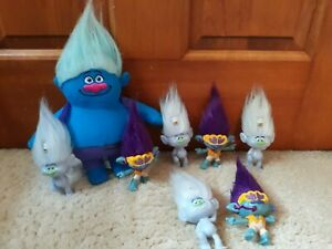Lot Of Eight Trolls Plush And Plastic