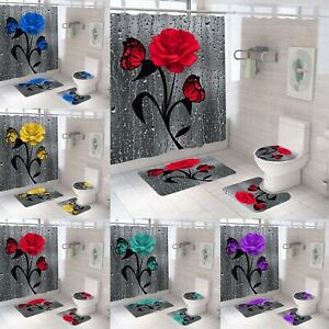 Rose Butterfly Bathroom Rugs 4PCS Shower Curtain Non-Slip Toilet Lid Cover Decor