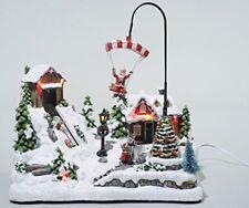 Christmas Decoration Animated Moving Santa on parachute LED lights Snow Village