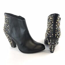 Zara Size 37 UK4 Black Faux Leather Ankle Studded Zip Up Heeled Booties Boots