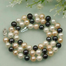 8-9mm Natural Black White Pink Cultured Fresh Water Akoya Pearl Necklace 20'' AA