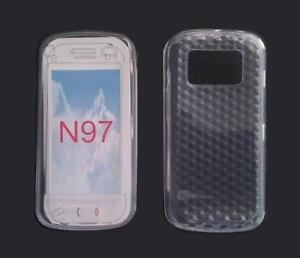 Housse Etui Coque Silicone Gel Blanc Diamand ~ Nokia N97