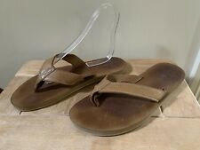 BROOKS BROTHERS BROWN LEATHER FLIP FLOPS SANDALS TOE POST SIZE UK 9 MADE IN USA