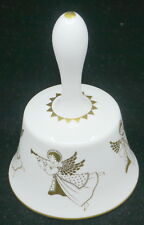 1971 Hammersley English Bone China Christmas Bell w Angels, Paperwork