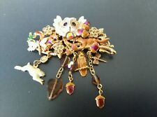 Vintage KIRKS FOLLY Owl Pin Brooch with Dangling Rabbit, Dragonfly, and Acorns