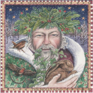 YULE CHRISTMAS GREETING CARD Holly King PAGAN Solstice HARE GODDESS WENDY ANDREW