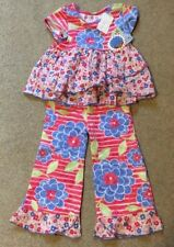 NEW BABY LULU  12 MONTHS TOP PANT SET FLOWERS  NEW WITH TAGS