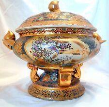 Vintage Satsuma Serving dish lid Pedestal Hand painted Gold Rare Jar Lotus Urn