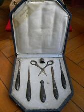 ANTIQUE STERLING SILVER SEWING SET NECESSAIRE ORIGINAL BOX SCISSOR NEEDLE CASE