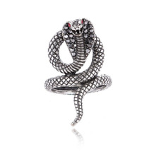 Vintage Cool Stainless Steel Gothic Punk Silver Cobra Snake Ring Fashion Jewelry