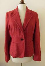 Womens L.L. BEAN Dark Orange Shetland Wool Herringbone Blazer Jacket ~ Size 12