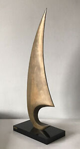 MAXIME DELO BRONZE MODERN ABSTRACT SCULPTURE -SIGNED- ITALIAN LIMITED EDITION